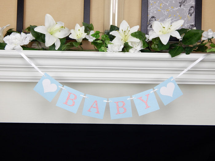 pink and blue baby shower banner - Celebrating Together