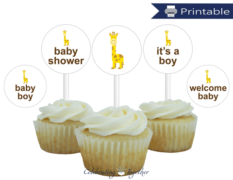 Printable Boys Safari Baby Shower Cupcake Toppers