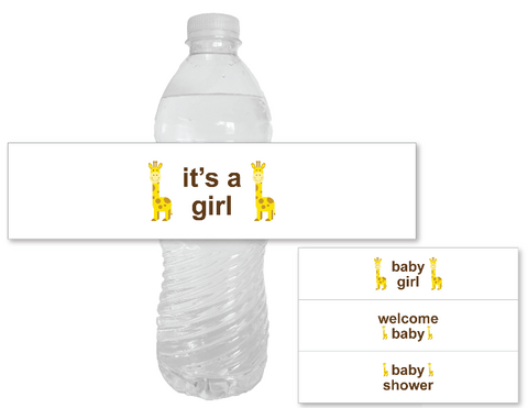 printable its a girl water bottle labels - safari baby shower decor - Celebrating Together