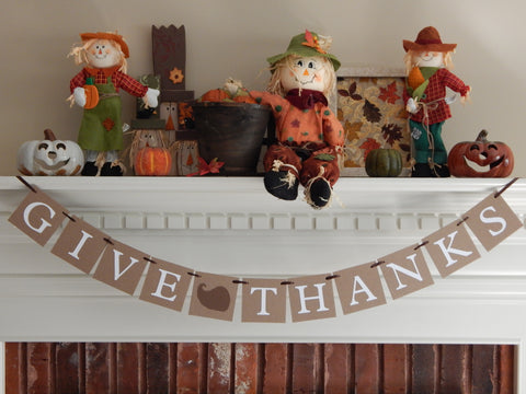 Rustic Give Thanks Banner - Autumn Home Decor - Celebrating Together