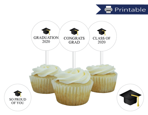 printable graduation 2020 cupcake toppers - Celebrating Together