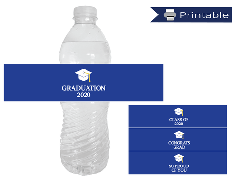 DIY 2020 Graduation Party Water Bottle Labels