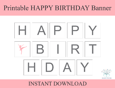 Pink Ballerina Printable Happy Birthday Banner