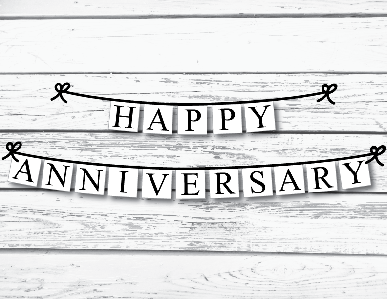 printable happy anniversary banner celebrating together