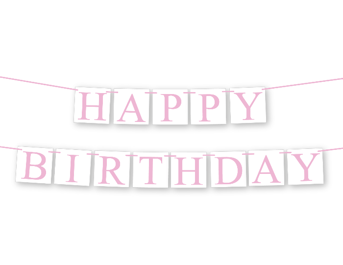 Pink happy birthday banner - Celebrating Together
