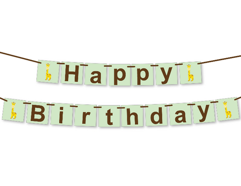 printable giraffe happy birthday banner - Celebrating Together