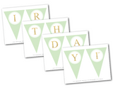 printable birthday party banner - mint and gold glitter pennant banner template - Celebrating Together