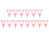 pink and gold glitter happy 1st birthday banner - Celebrating Together