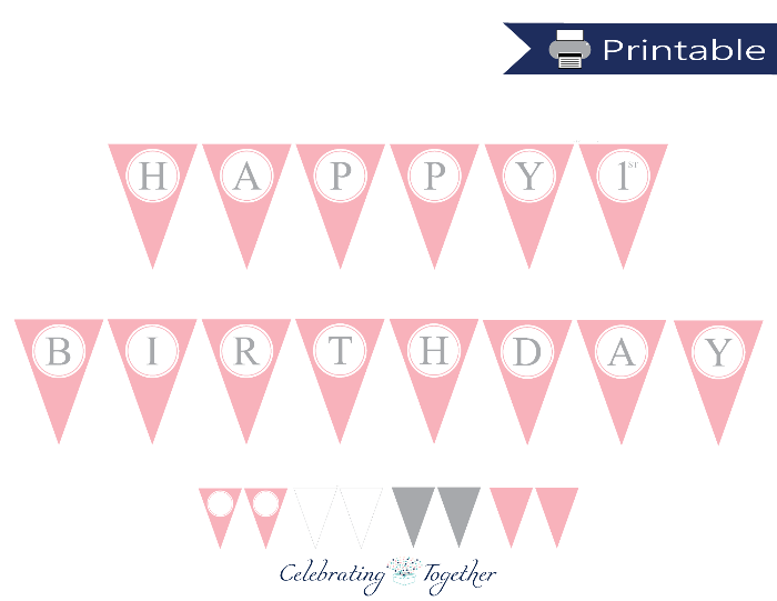 picture about Printable Pennant Banner titled Red and Gray Ladies Printable Joyful Birthday Pennant Banner