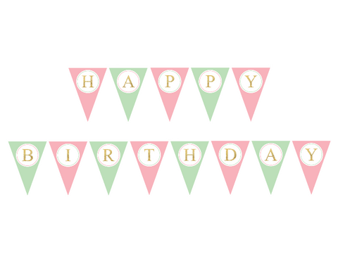mint and pink happy birthday banner - Celebrating Together