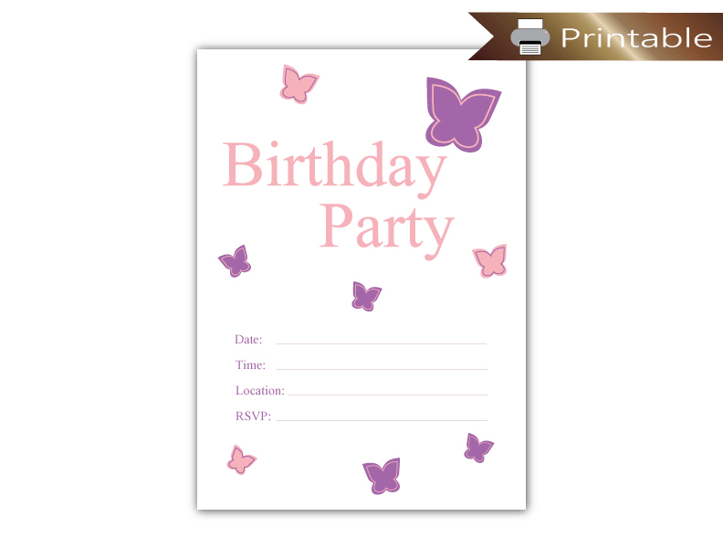 photograph regarding Birthday Party Invitations Printable identified as Printable Butterfly Birthday Occasion Invitation
