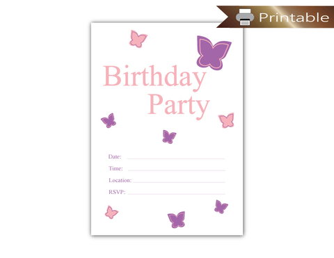 Printable Butterfly Birthday Party Invitation - Girls Birthday Party Supplies
