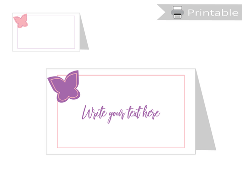 Printable Butterfly Tent Cards