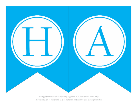 letters h and a for a printable happy birthday banner celebrating together