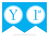 Letter Y and 1st panels for a blue printable happy 1st birthday banner - Celebrating Together