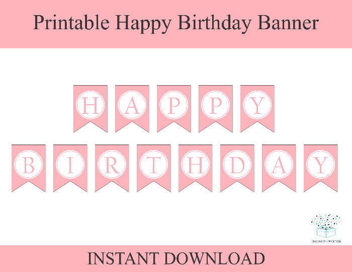 printable pink happy birthday banner - Celebrating Together