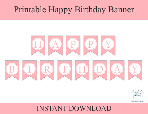 Pink Printable Happy Birthday Banner - DIY Birthday Party Decor