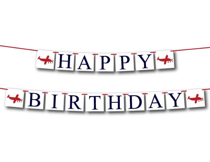 airplane themed happy birthday banner for boys birthday party - Celebrating Together