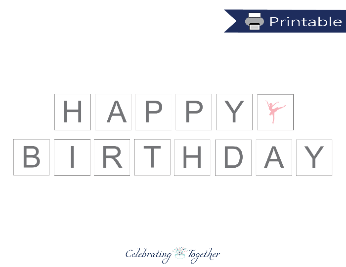 photograph relating to Happy Birthday Printable Banner identified as Purple Ballerina Printable Pleased Birthday Banner