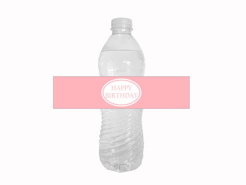 Pink happy birthday water bottle labels - Celebrating Together
