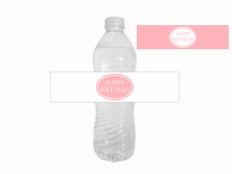 Pink and white happy birthday water bottle labels - Celebrating Together
