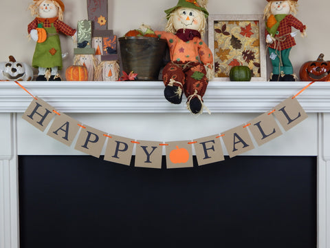 rustic happy fall banner - halloween party decor - Celebrating Together