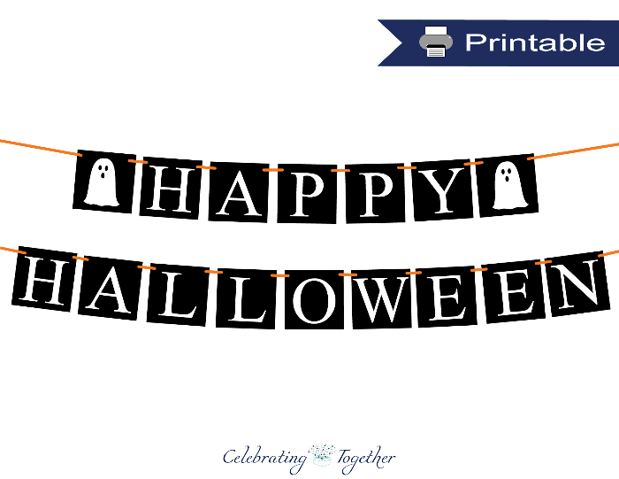 Printable ghost happy halloween banner - Celebrating Together