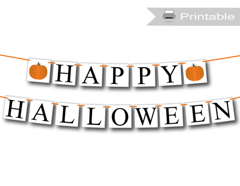 Printable happy halloween banner - Celebrating Together