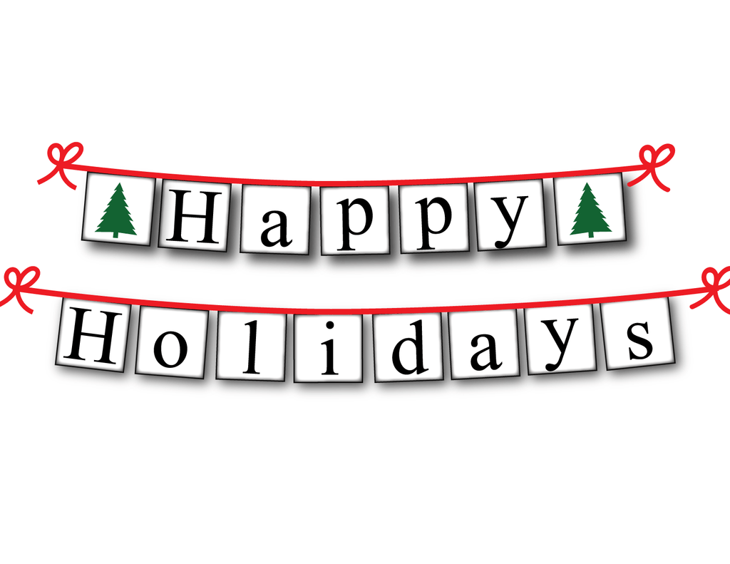 image regarding Happy Holidays Banner Printable called Printable Pleased Holiday seasons Banner