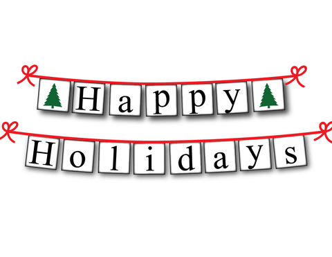 Happy Holidays banner with evergreen trees - Christmas Decoration - Celebrating Together
