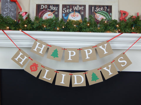 Festive happy holidays banner - rustic Christmas decoration - Celebrating Together
