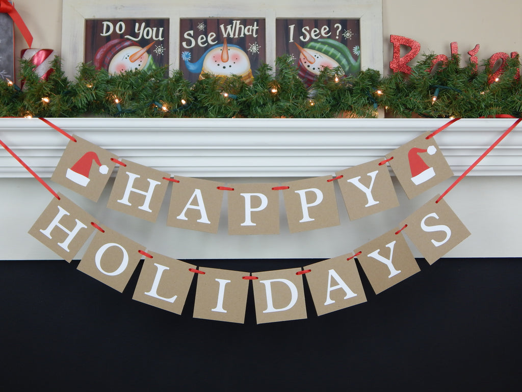 Happy Holidays banner with Santa Hats - Rustic Christmas Decoration - Celebrating Together