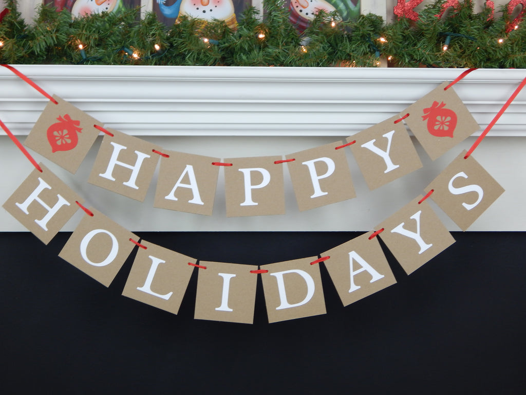 Happy Holidays banner  - festive christmas decorations - Celebrating Together