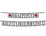 teachers happy retirement banner with apples - Celebrating Together