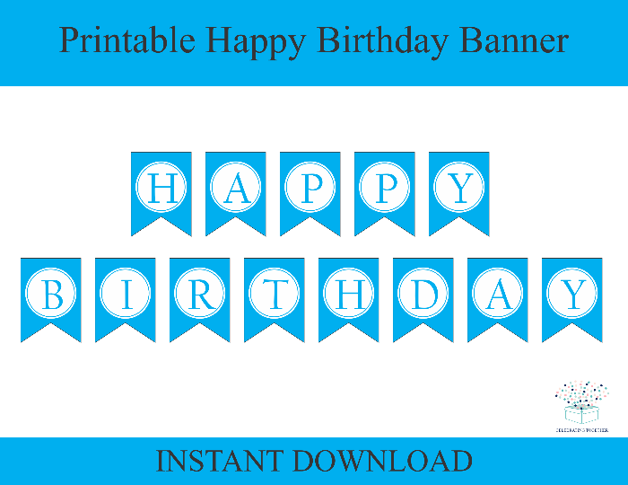 picture relating to Printable Birthday Banners called Blue Printable Delighted Birthday Banner