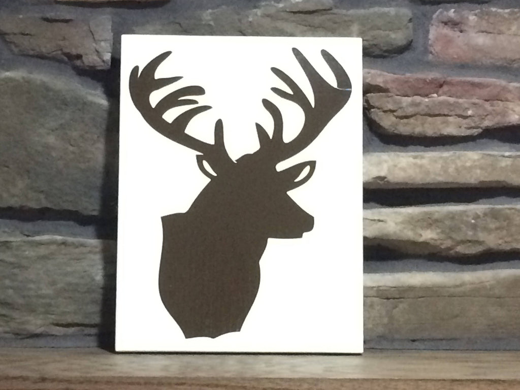ON SALE Deer sign for fireplace mantel or wall hanging, rustic cabin home decor, gift for hunter wooden antler sign