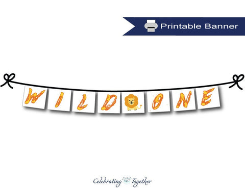 Printable Wild One Happy Birthday Banner