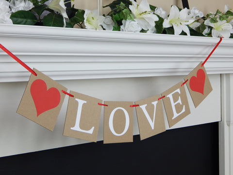 Rustic Love Banner, Valentines day decor, wedding bridal shower bunting, engagement party and save the date photo prop sign