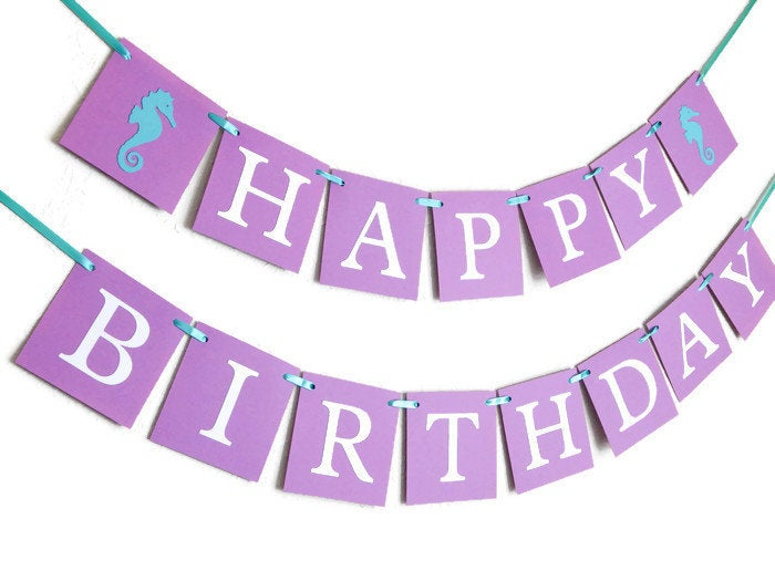 SALE seahorse happy birthday banner, under the sea birthday party decorations, girls 1st birthday decor in purple and aqua, ocean bunting