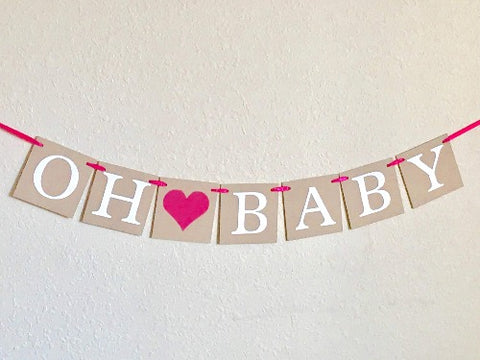 rustic oh baby banner - gender reveal decoration - Celebrating Together