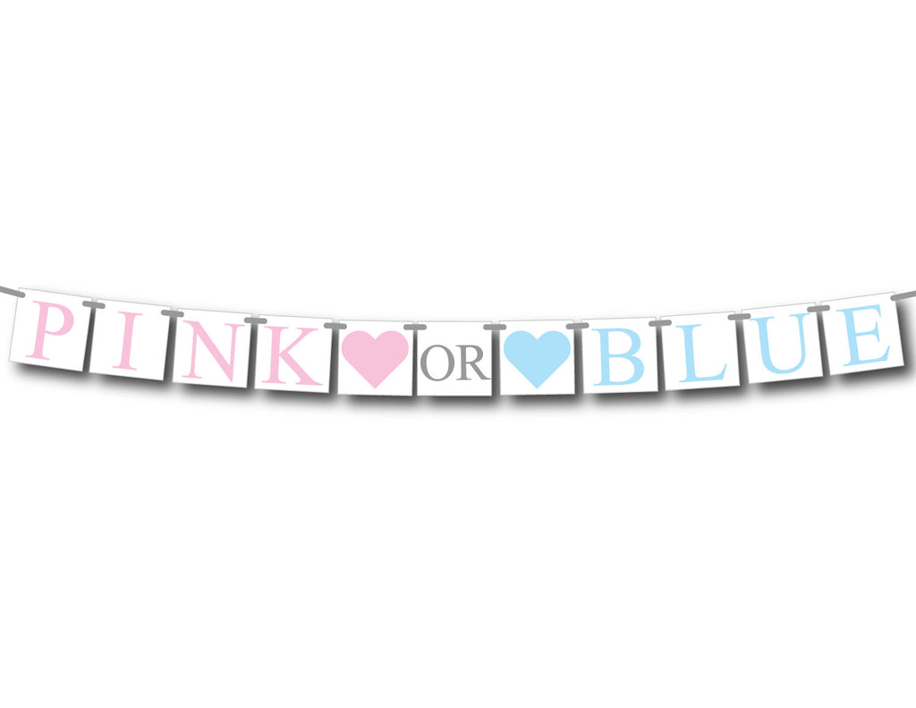 pink or blue gender reveal banner, he or she baby shower ...