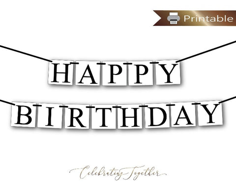 Simple Printable Happy Birthday Banner