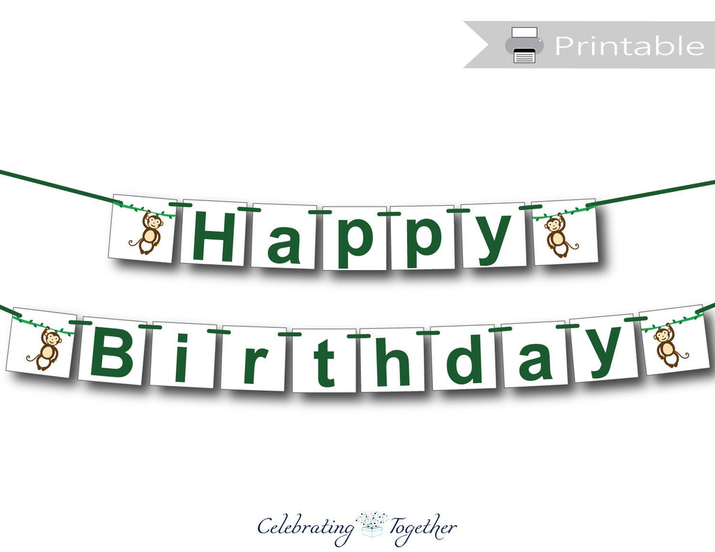 printable monkey happy birthday banner - Celebrating Together