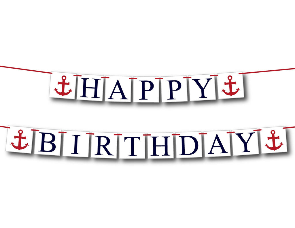 Nautical happy birthday banner, boys first birthday party decorations, little sailor red white and blue anchor themed birthday sign