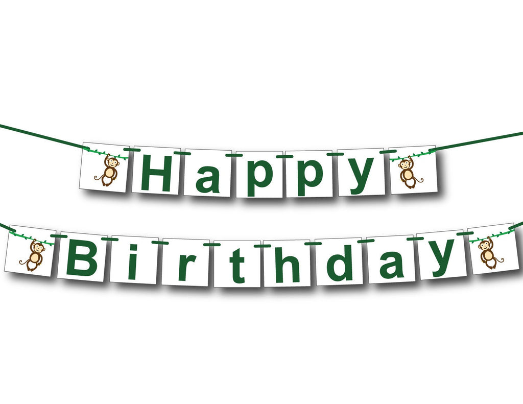 monkey happy birthday banner - Celebrating Together