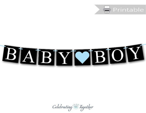 printable chalkboard baby boy banner - DIY gender reveal party decor - Celebrating Together
