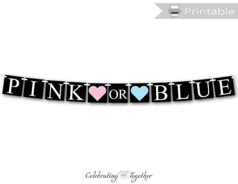 printable pink or blue banner chalkboard theme - Celebrating Together