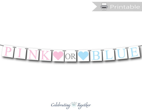 printable pink or blue banner - gender reveal party decoration - Celebrating Together