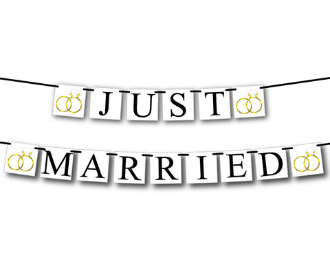 Just Married Banner, just hitched wedding send off, after the wedding car decorations, wedding ring getaway car sign, wedding band decor