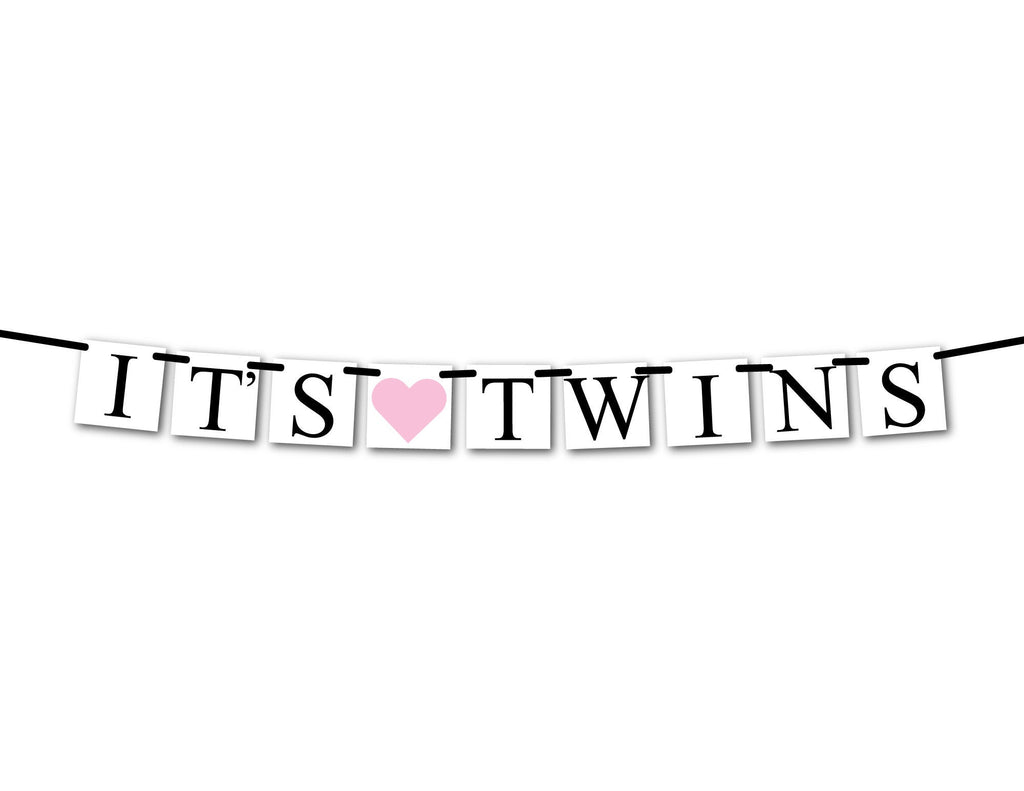 it's twins banner for gender reveal party - Celebrating Together